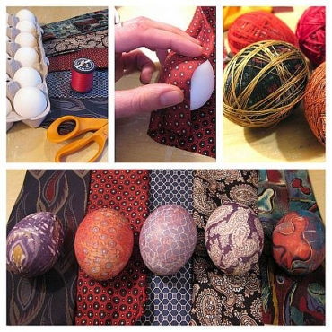 Decorating Easter Eggs with Silk Ties