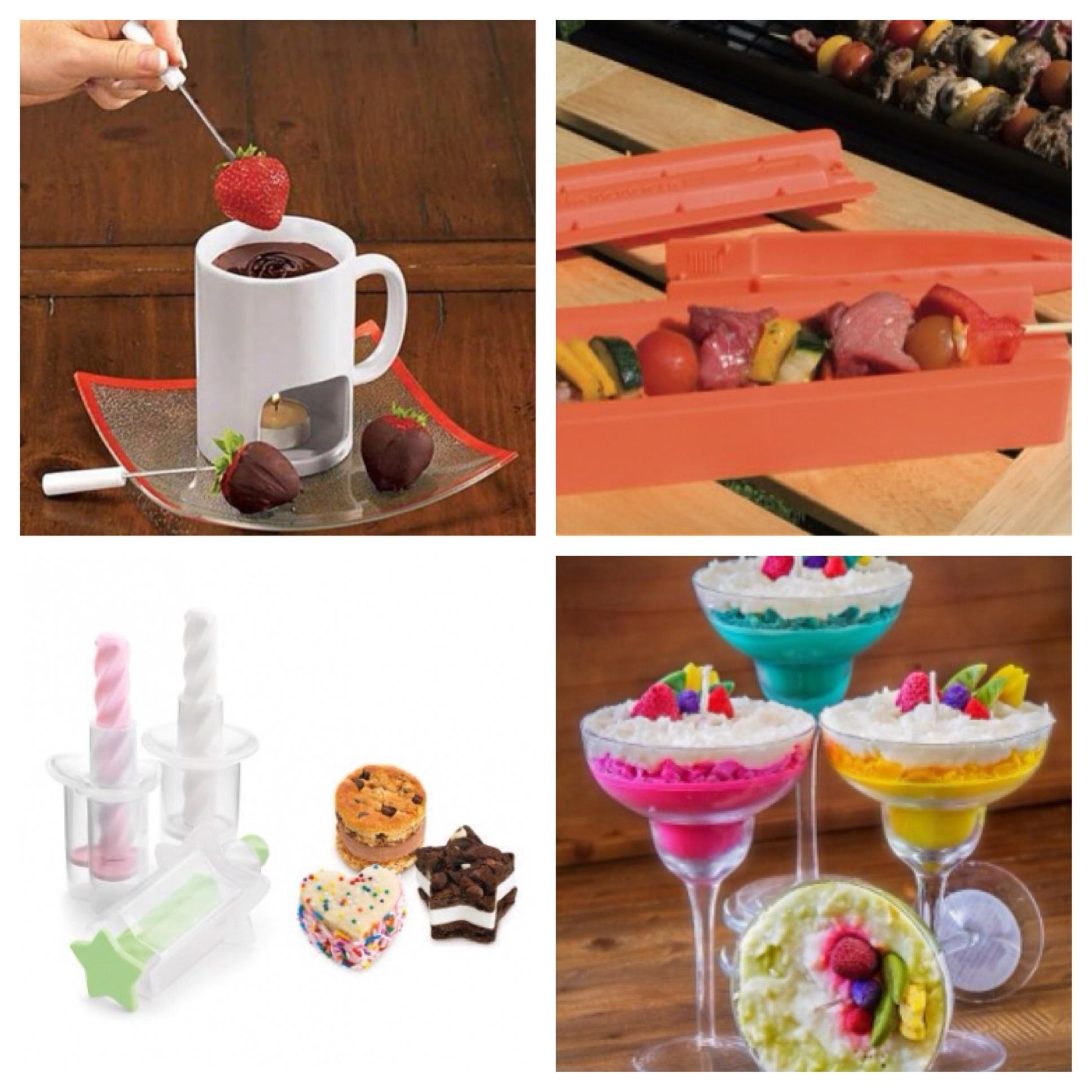 Fondue mug, kebabecue, mini ice cream sandwich maker, margarita candle