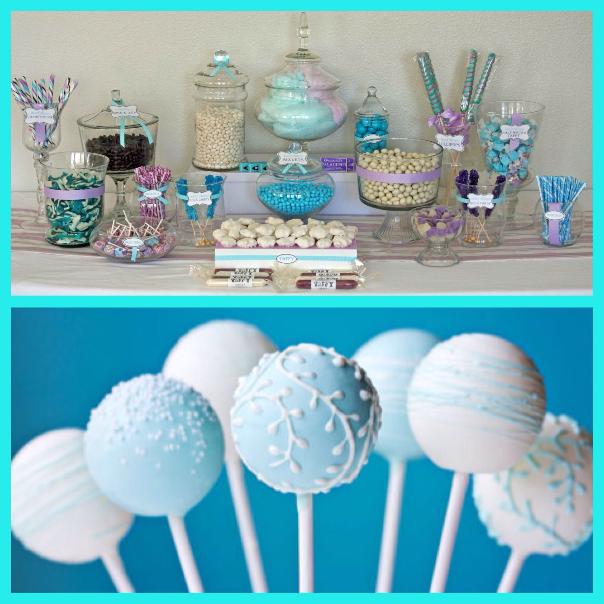 winter carnival themed candy buffet, winter themed cake pops