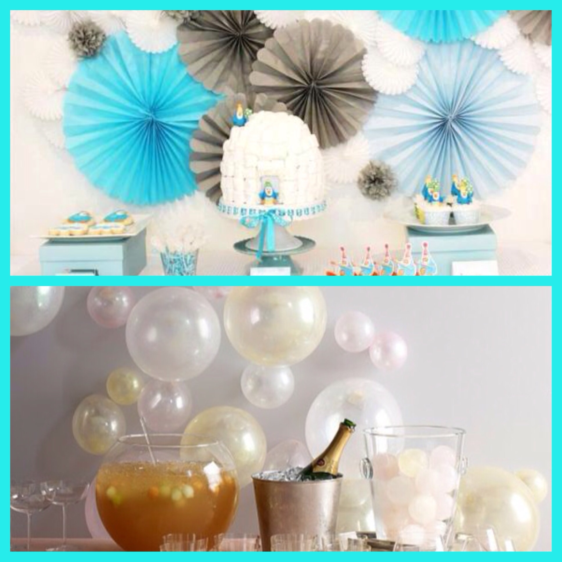 winter themed tissue paper decorations, white balloons on walls
