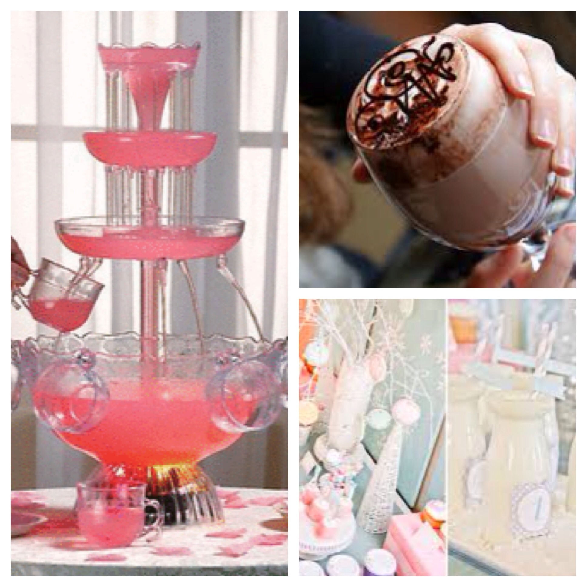 punch cocktail fountain, hot cocoa, winter carnival table decor