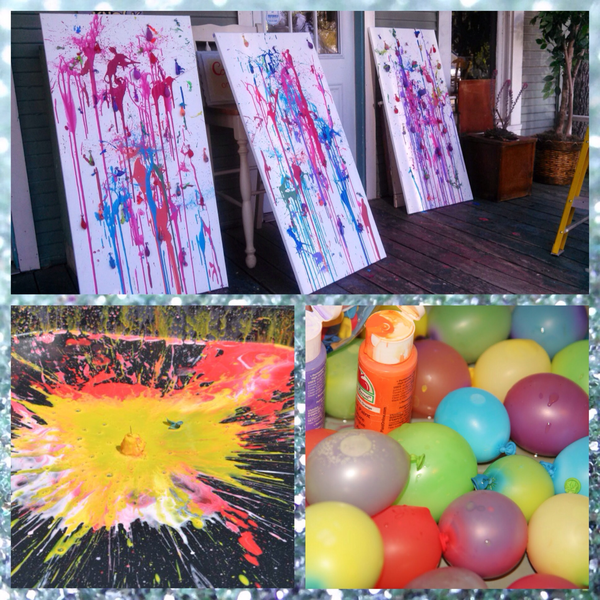 water balloons filled with paint, painted canvas