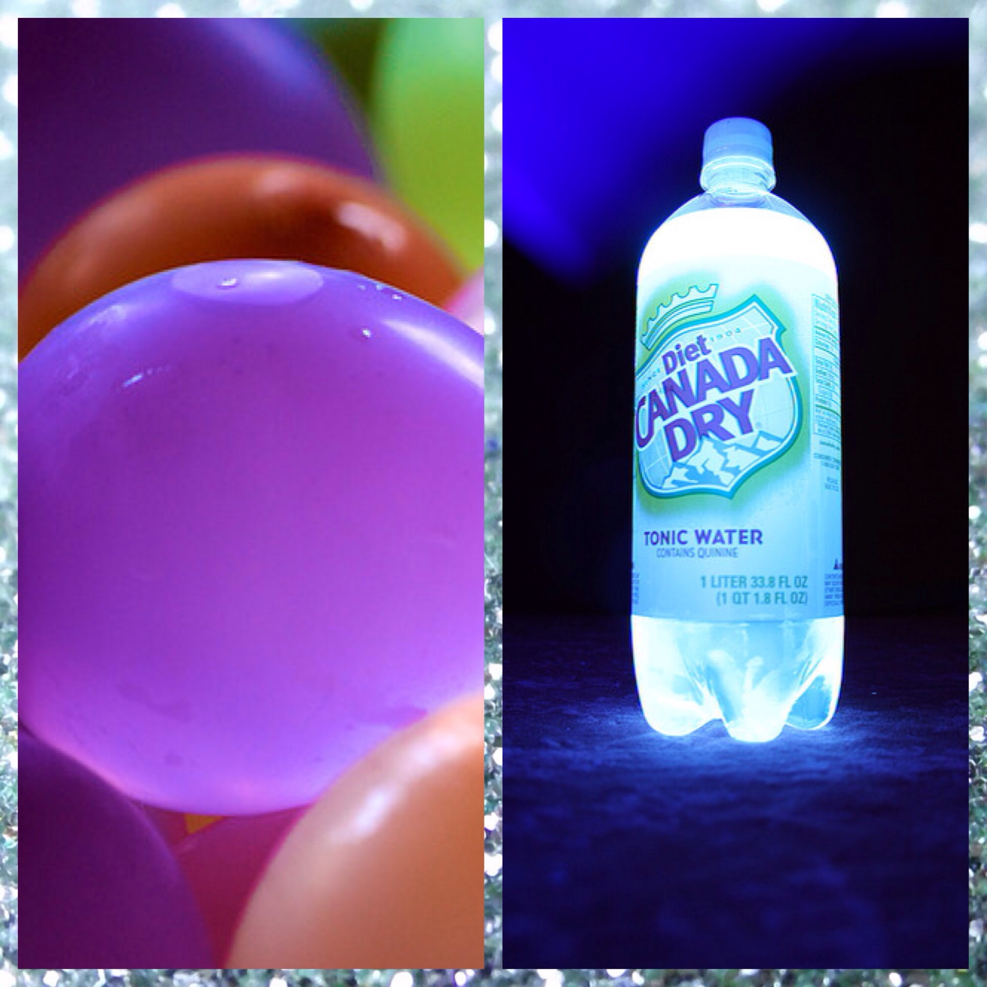 water balloons and glowing tonic water