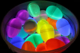 plastic eggs filled with glow sticks