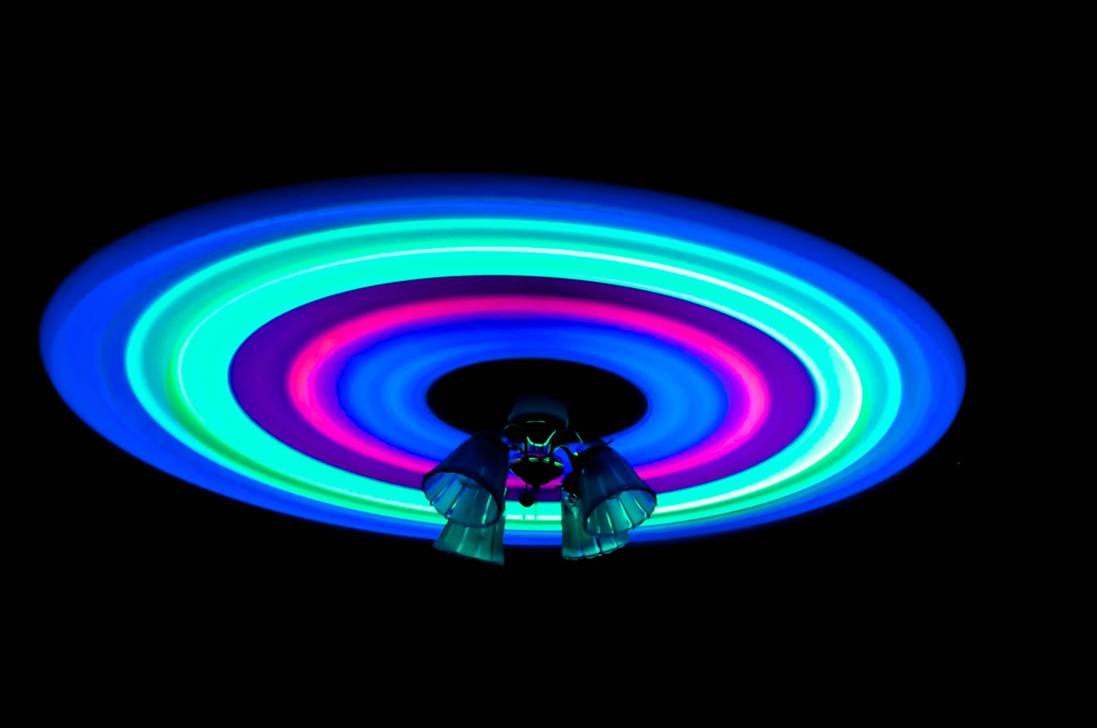 glow sticks on a ceiling fan