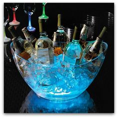 bowl of ice and drinks with glow sticks