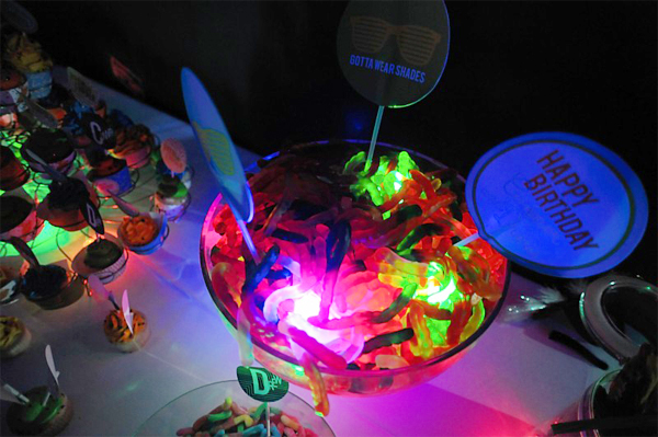 bowl of sweets with glow sticks
