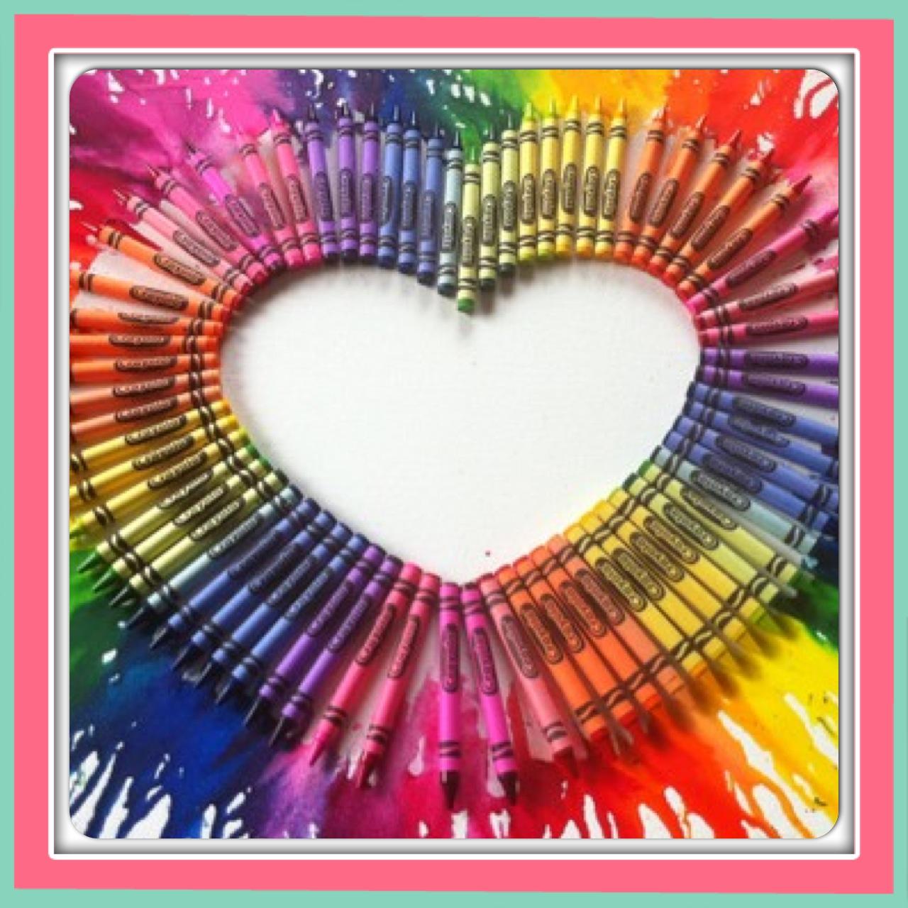 crayon artwork heart shaped
