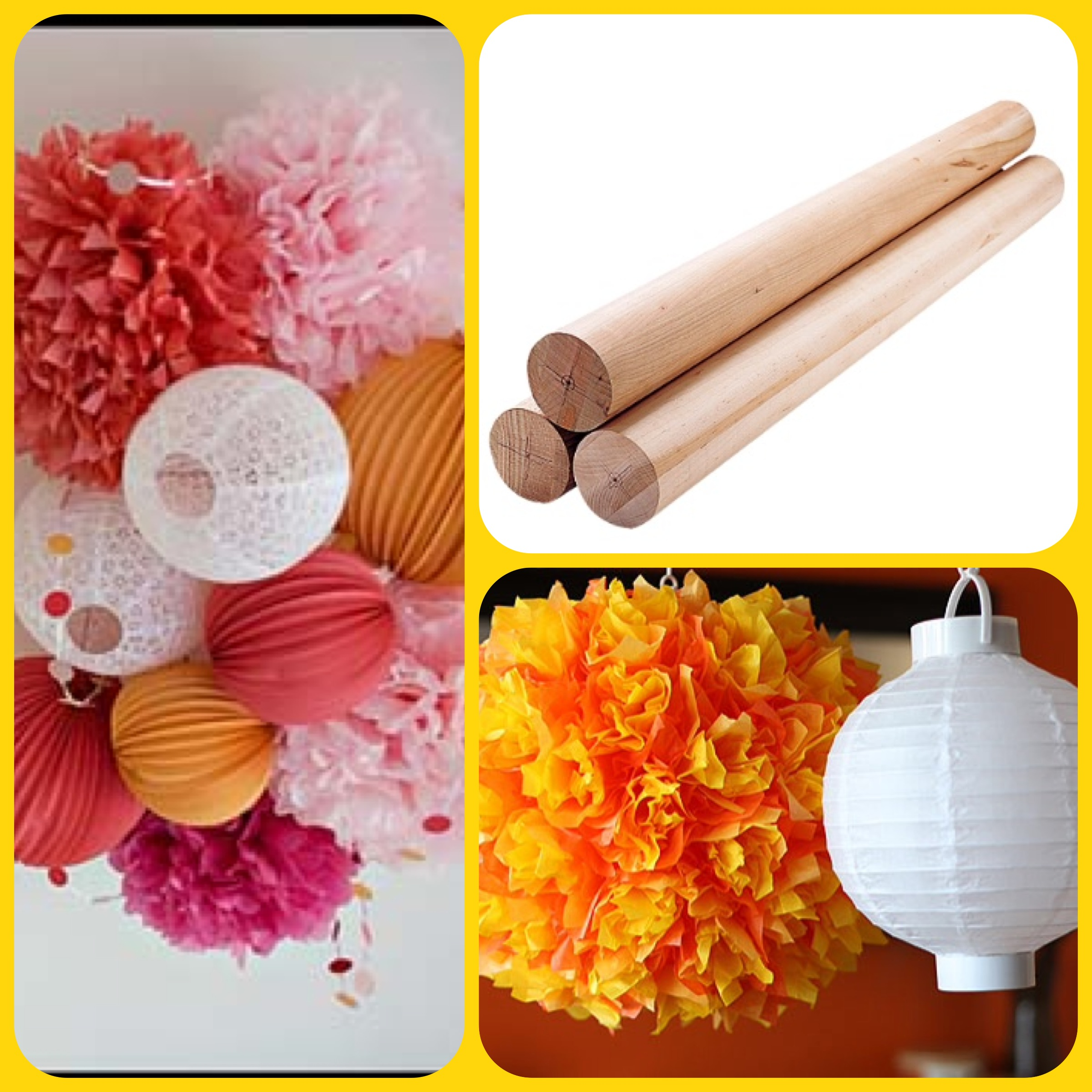 Materials needed for paper lantern chandelier