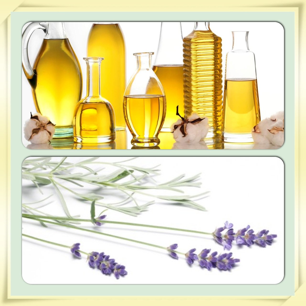 jars of oil and sprigs of lavender