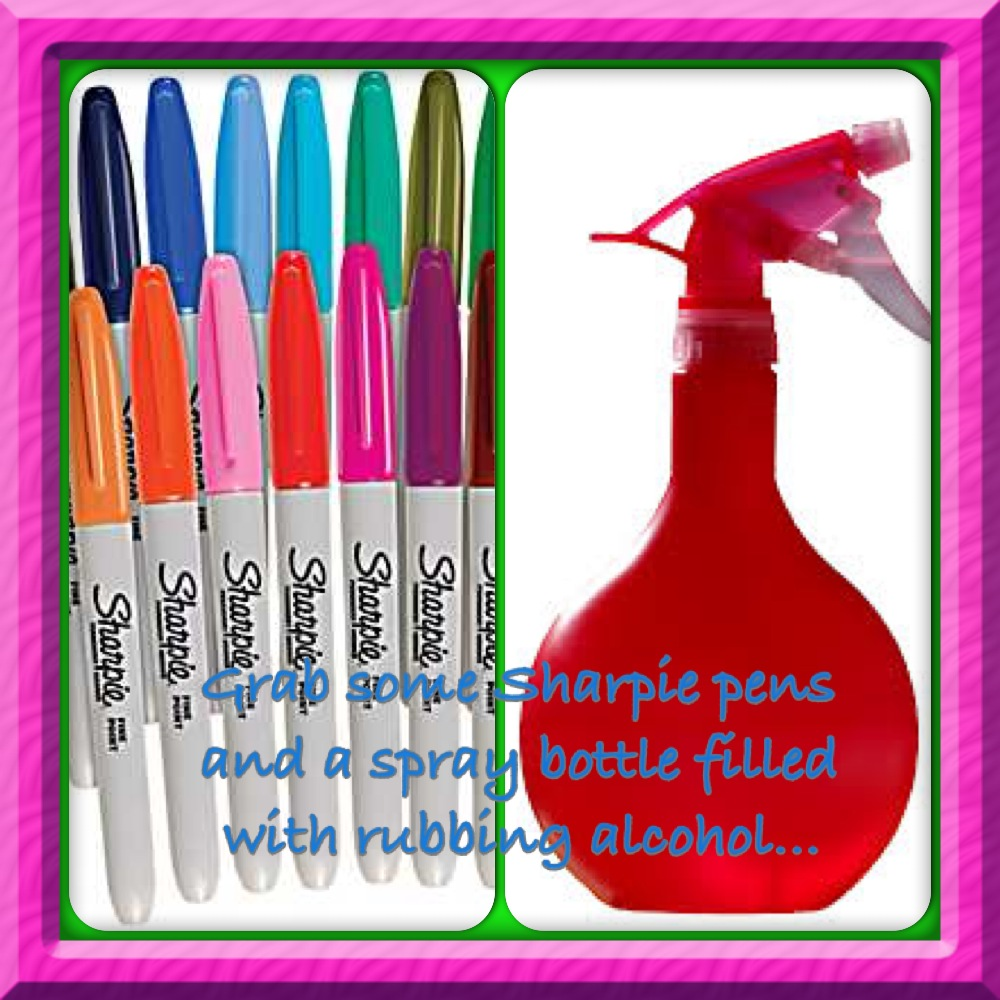 sharpies and spray bottle