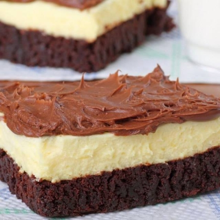 Brownie Bottom Cheesecake with Chocolate Frosting