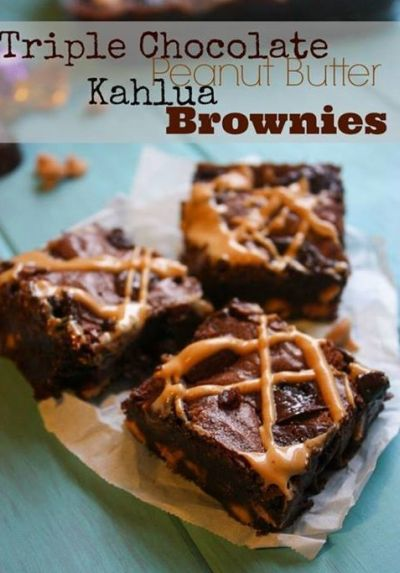 Chocolate & Peanut butter Kahlua Brownies