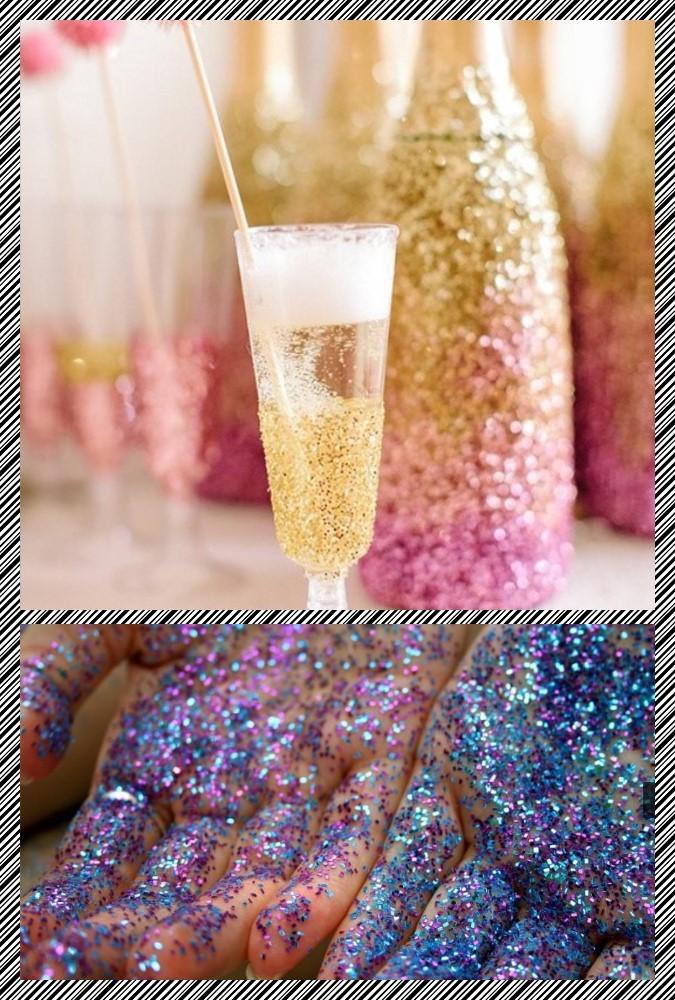 glitter hands and wine bottle
