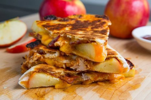 BBQ Chicken, Cheddar, Bacon, and Apple Quesadillas
