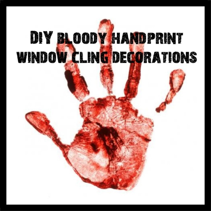 DIY Bloody Handprint Window Clings