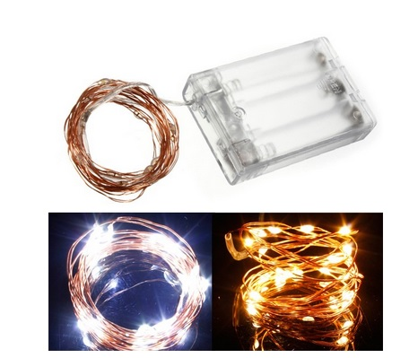 warm white copper battery operated string light