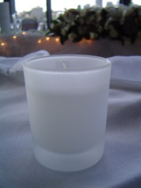 small frosted Glass with Candle ( 12 )