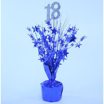 18th Birthday blue centrepiece