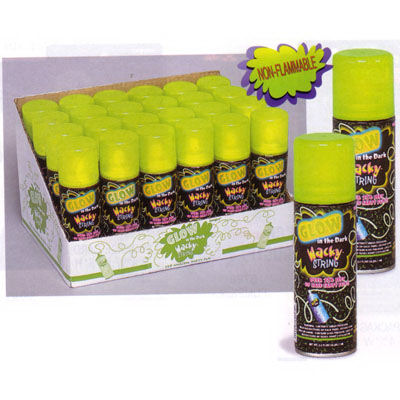 Glow in the dark wacky silly string