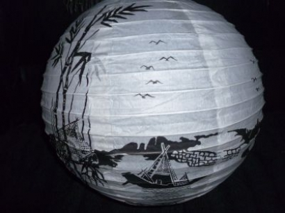 14 inch river and palm tree lantern ( 10 )