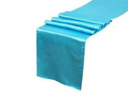 Turquoise Satin Table Runner
