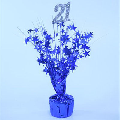 21st Birthday Party Favors. 21st birthday blue centrepiece