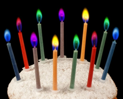 Rainbow coloured flame candles