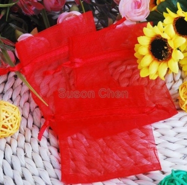 Red Organza Bags 8x12cm (10)