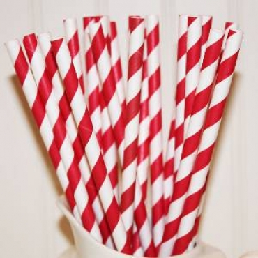 Candy Apple Red and White Striped Straws (25)