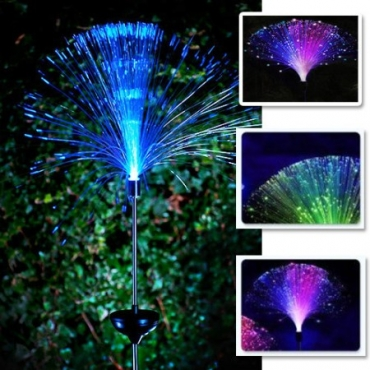 Solar power fibre optic outdoor garden light