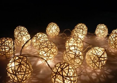 White Rattan Ball String lights